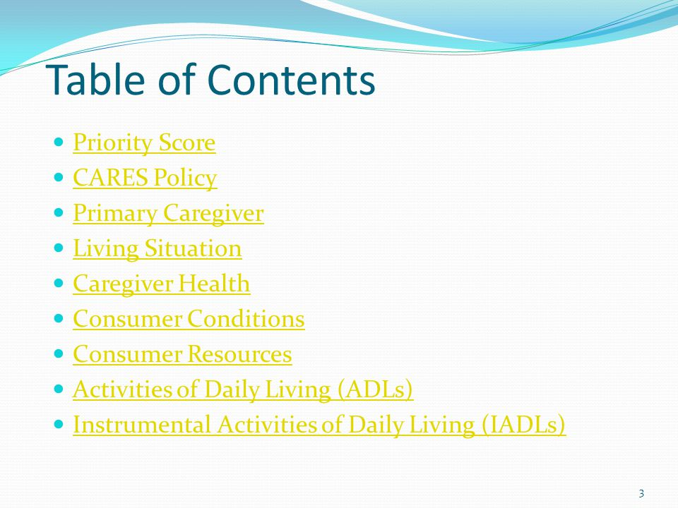 Table of Contents Priority Score CARES Policy Primary Caregiver Living Situation Caregiver Health Consumer Conditions Consumer Resources Activities of Daily Living (ADLs) Instrumental Activities of Daily Living (IADLs) 3