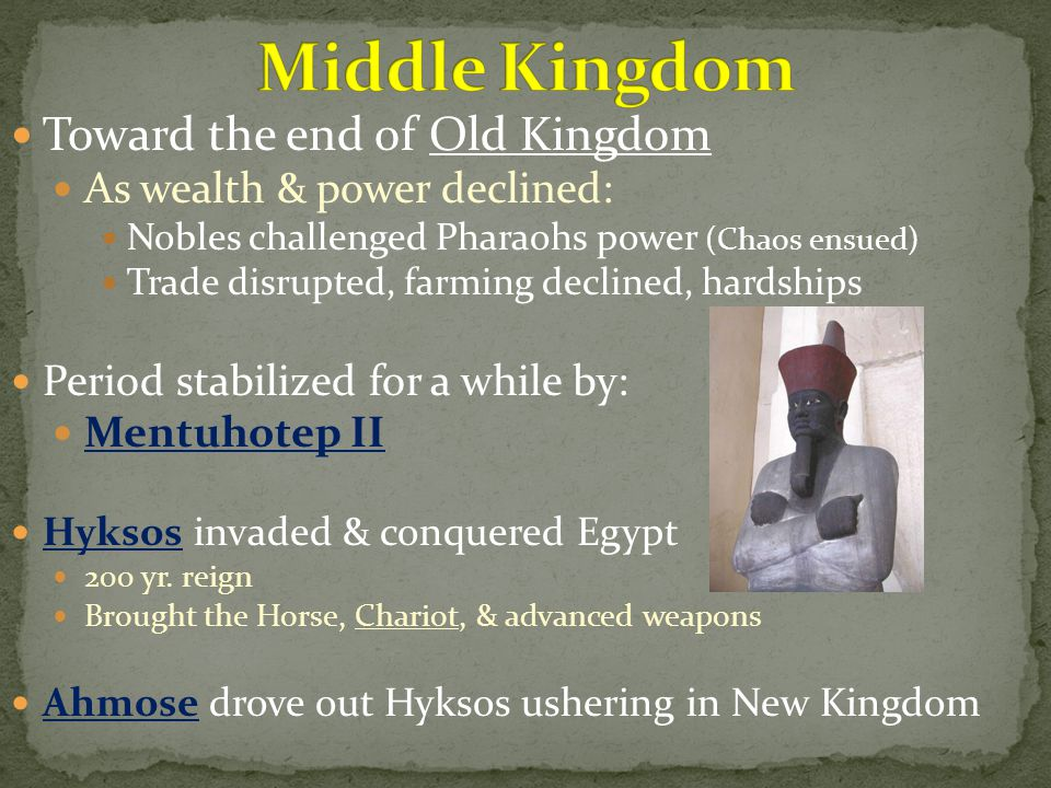 Toward the end of Old Kingdom As wealth & power declined: Nobles challenged Pharaohs power (Chaos ensued) Trade disrupted, farming declined, hardships