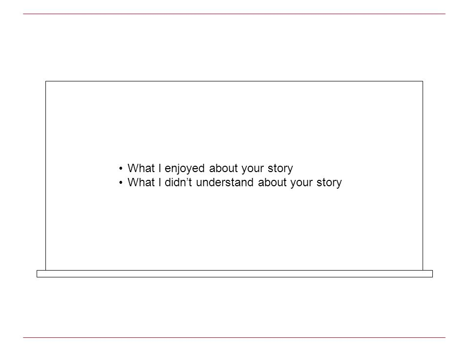 What I enjoyed about your story What I didnt understand about your story