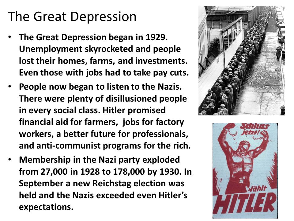 The Great Depression The Great Depression began in 1929.