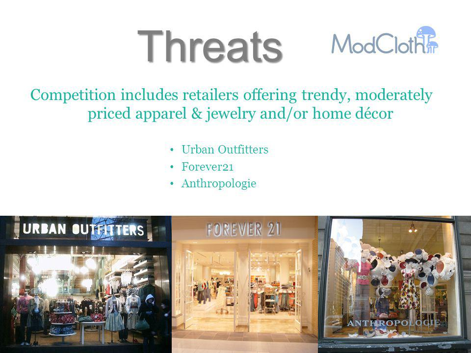 Threats Competition includes retailers offering trendy, moderately priced apparel & jewelry and/or home décor Urban Outfitters Forever21 Anthropologie
