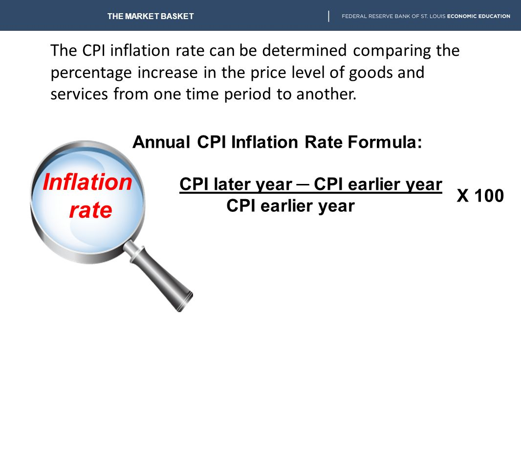 The CPI reflects all the ups and downs of millions of individual prices. THE MARKET BASKET The CPI seldom mirrors a particular consumer's experience.