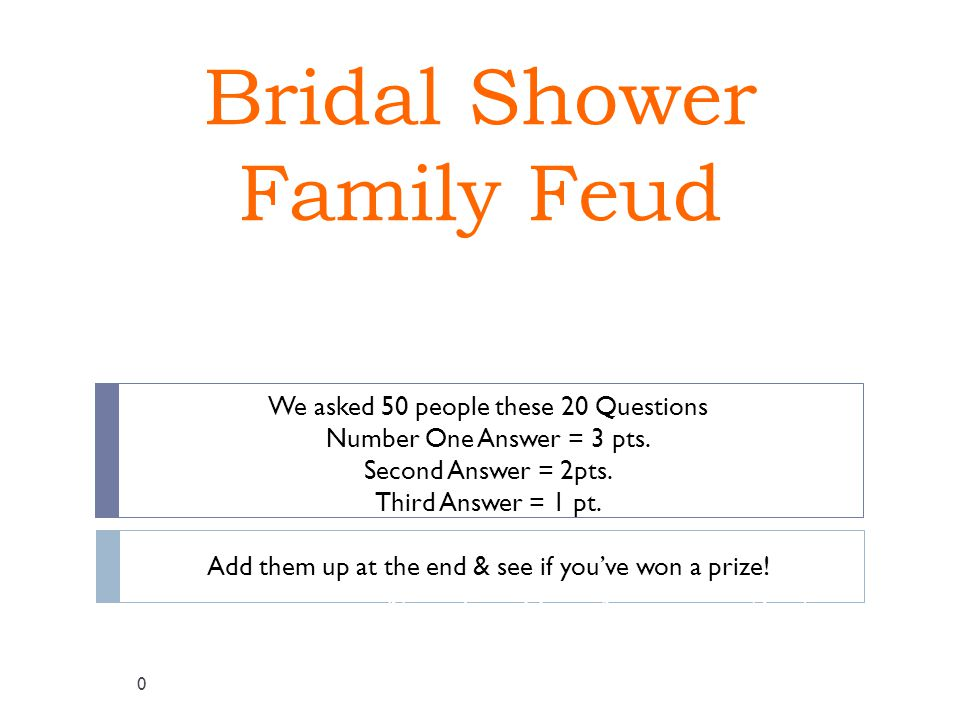 Bridal Shower Family Feud We asked 50 people these 20 Questions Number One Answer = 3 pts.