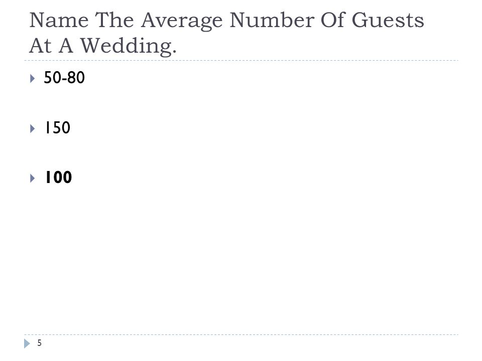 Name The Average Number Of Guests At A Wedding. 5 50-80 150 100