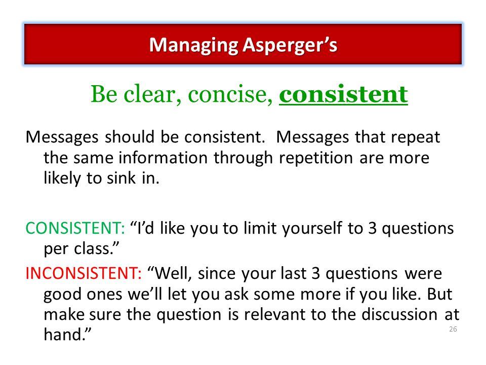 Messages should be consistent.