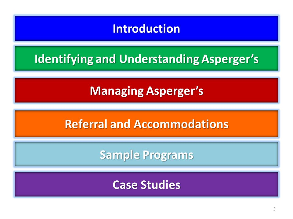 Managing Aspergers 3 Identifying and Understanding Aspergers Case Studies Referral and Accommodations Introduction Sample Programs