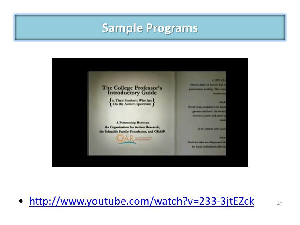 http://www.youtube.com/watch?v=233-3jtEZck 40 Sample Programs