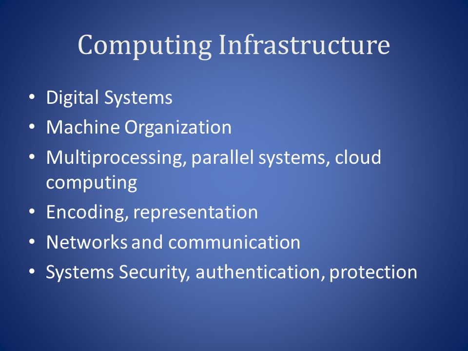 Computing Infrastructure Digital Systems Machine Organization Multiprocessing, parallel systems, cloud computing Encoding, representation Networks and communication Systems Security, authentication, protection