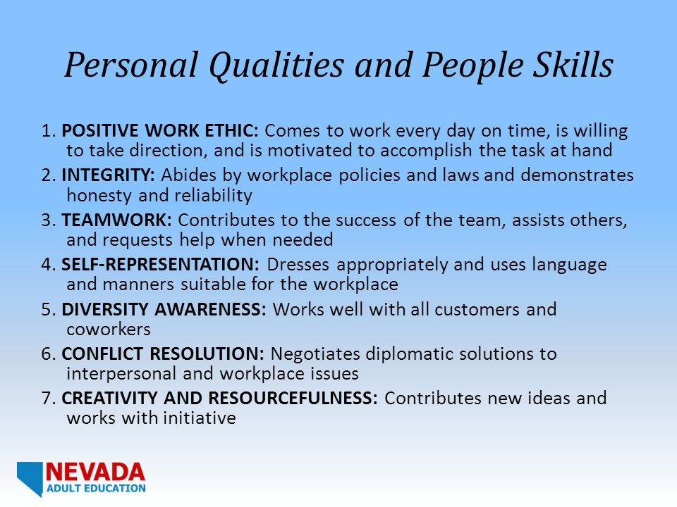 Personal Qualities and People Skills 1.