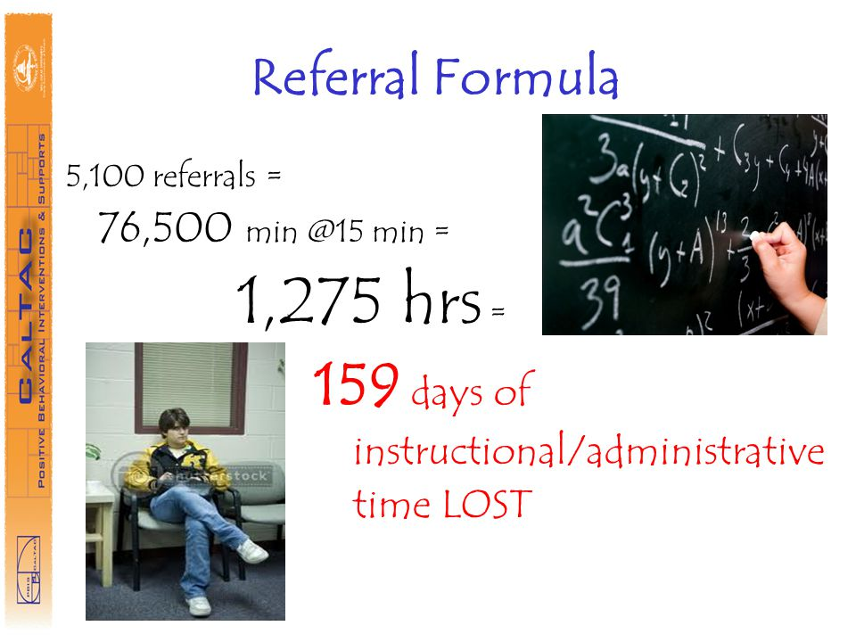 Referral Formula 5,100 referrals = 76,500 min @15 min = 1,275 hrs = 159 days of instructional/administrative time LOST