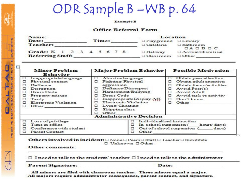 ODR Sample B –WB p. 64