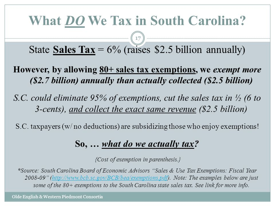 What DO We Tax in South Carolina? Olde English & Western Piedmont Consortia State Sales Tax = 6% (raises $2.5 billion annually) However, by allowing 8