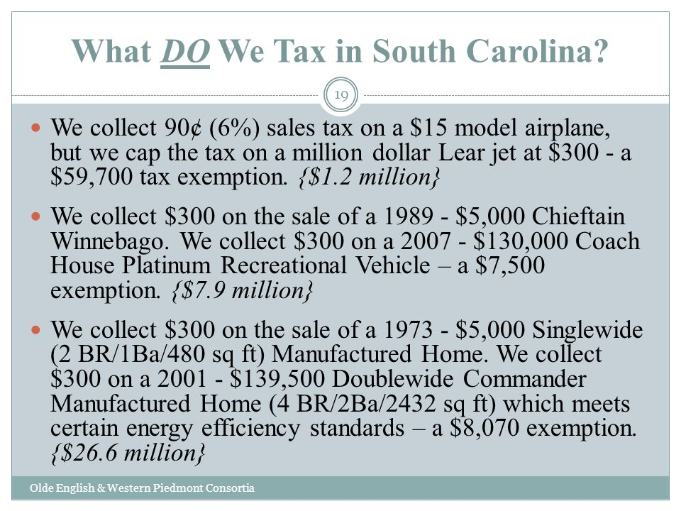 What DO We Tax in South Carolina.