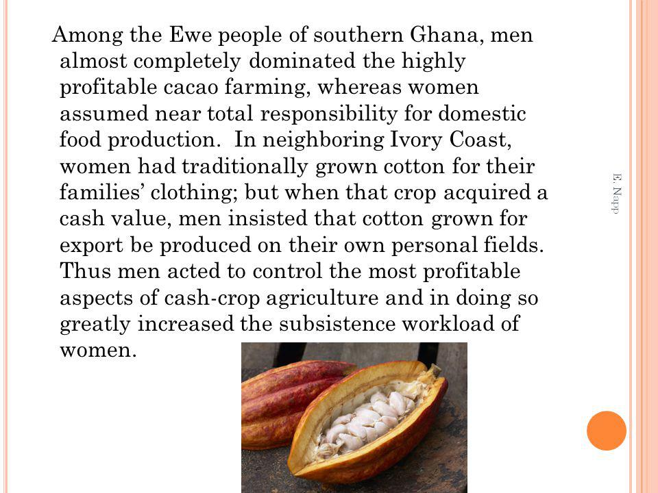 Among the Ewe people of southern Ghana, men almost completely dominated the highly profitable cacao farming, whereas women assumed near total responsibility for domestic food production.