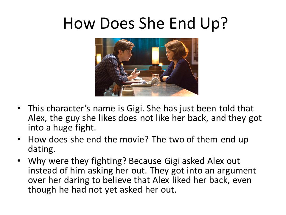 How Does She End Up? This characters name is Gigi. She has just been told that Alex, the guy she likes does not like her back, and they got into a hug