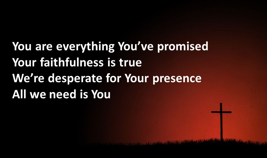 You are everything Youve promised Your faithfulness is true Were desperate for Your presence All we need is You