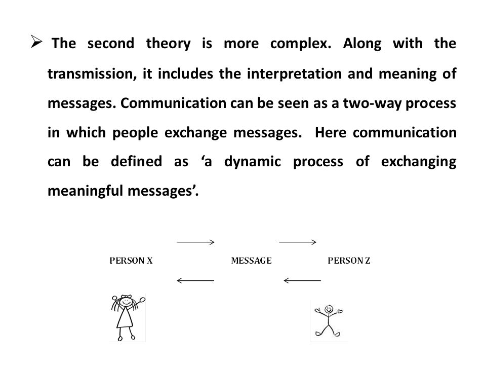 The second theory is more complex. Along with the transmission, it includes the interpretation and meaning of messages. Communication can be seen as a