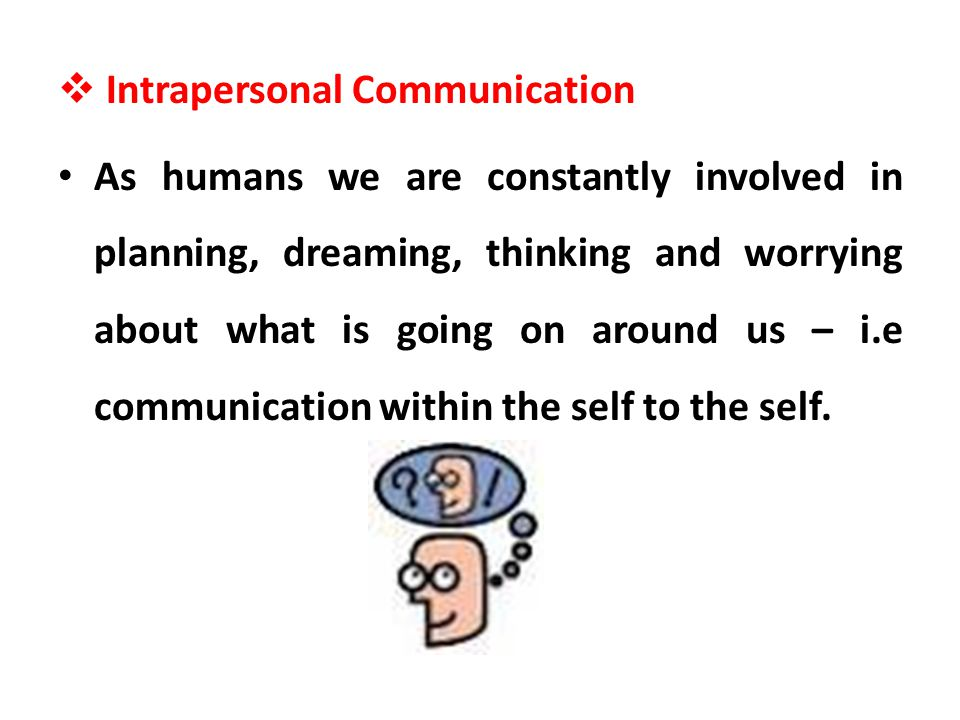 Intrapersonal Communication As humans we are constantly involved in planning, dreaming, thinking and worrying about what is going on around us – i.e c