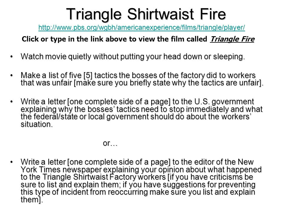 Tactics of the Triangle Shirtwaist Factory bosses Unfair Tactics 1.