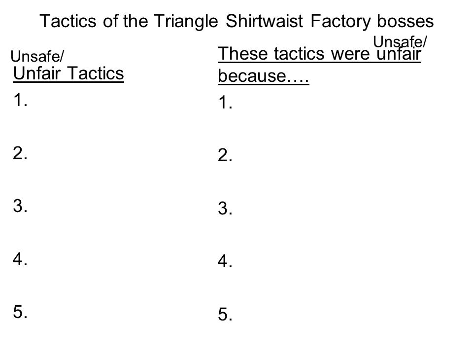 Tactics of the Triangle Shirtwaist Factory bosses Unfair Tactics 1. 2. 3. 4. 5. These tactics were unfair because…. 1. 2. 3. 4. 5. Unsafe/