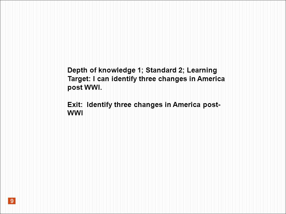 9 Exit: Identify three changes in America post- WWI