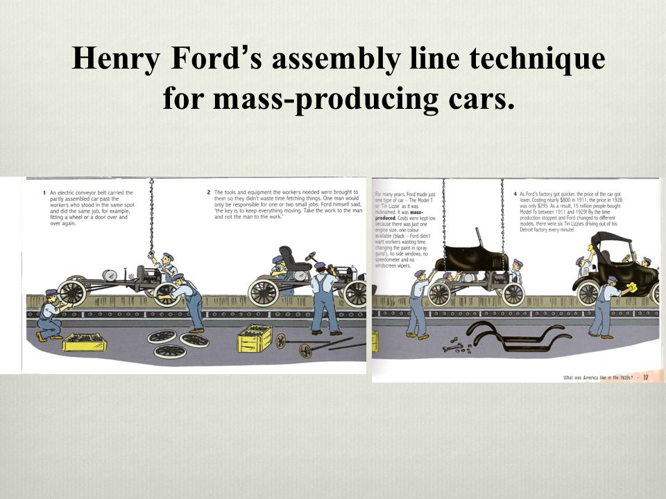 Henry Fords assembly line technique for mass-producing cars.