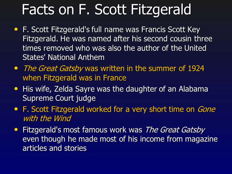 Who is F. Scott Fitzgerald? Born in 1896, in St. Paul, Minnesota. Born in 1896, in St. Paul, Minnesota. He attended Princeton University. He attended