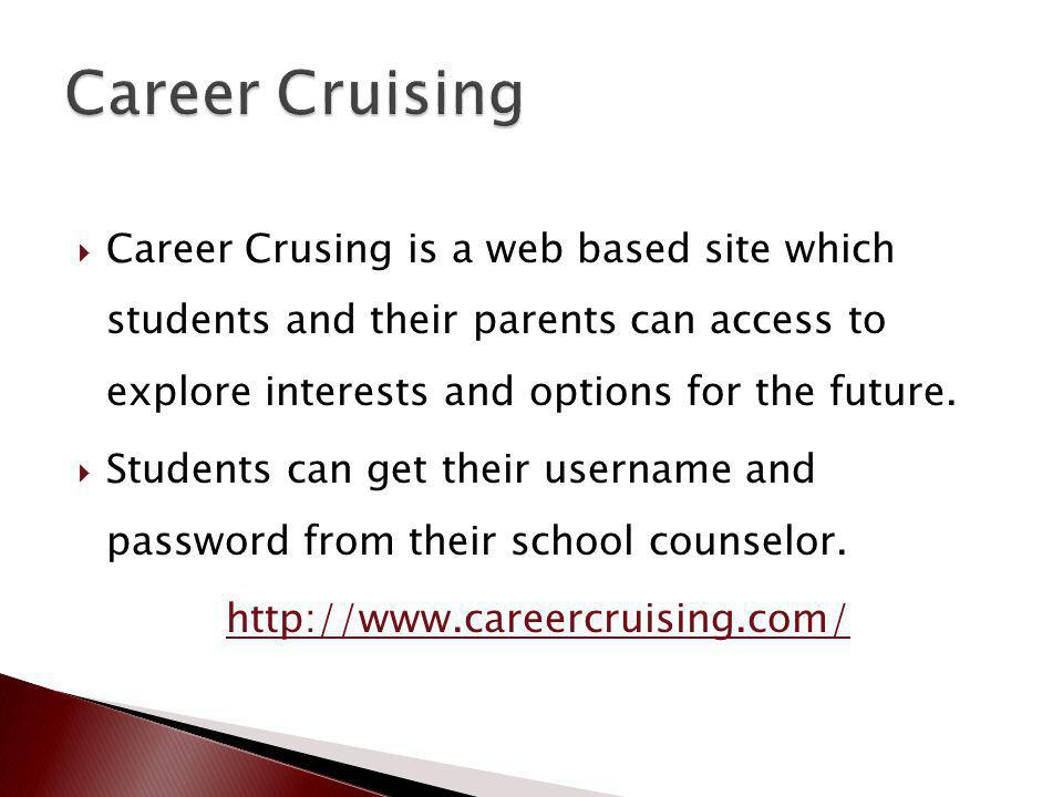 Career Crusing is a web based site which students and their parents can access to explore interests and options for the future.
