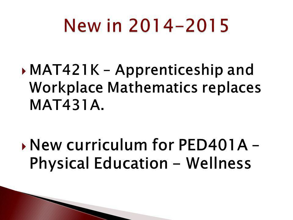 MAT421K – Apprenticeship and Workplace Mathematics replaces MAT431A. New curriculum for PED401A – Physical Education - Wellness