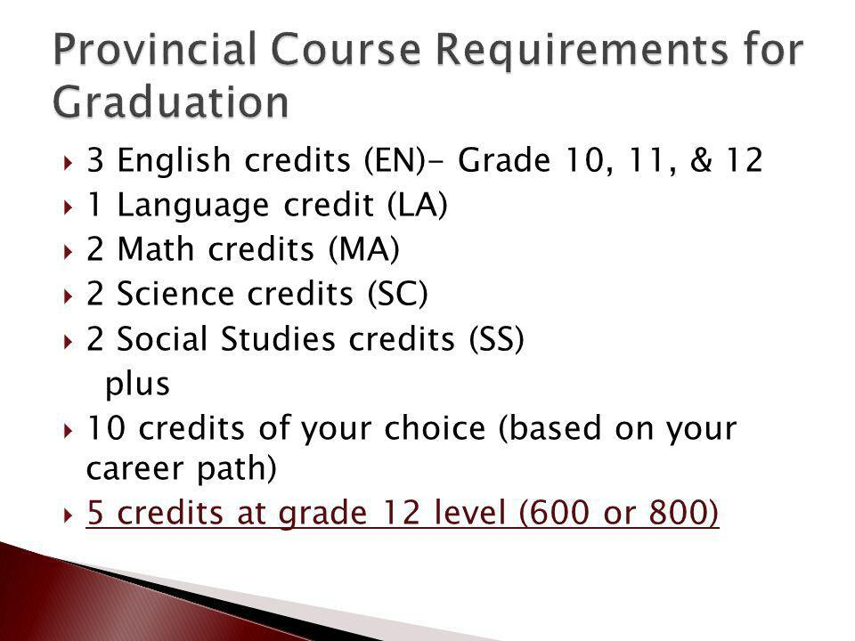 3 English credits (EN)- Grade 10, 11, & 12 1 Language credit (LA) 2 Math credits (MA) 2 Science credits (SC) 2 Social Studies credits (SS) plus 10 credits of your choice (based on your career path) 5 credits at grade 12 level (600 or 800)