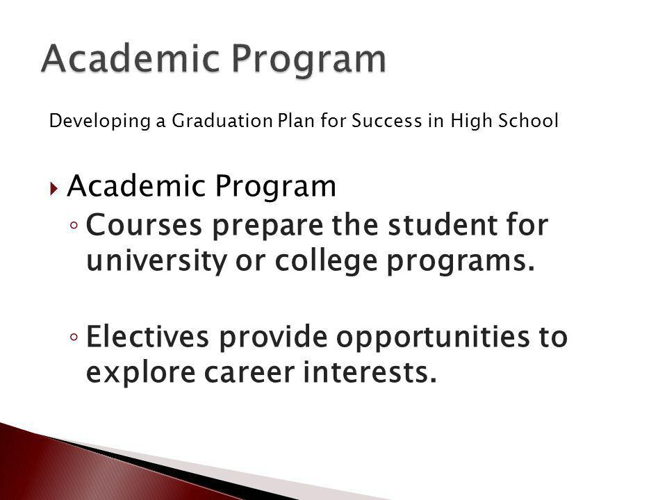 Developing a Graduation Plan for Success in High School Academic Program Courses prepare the student for university or college programs.