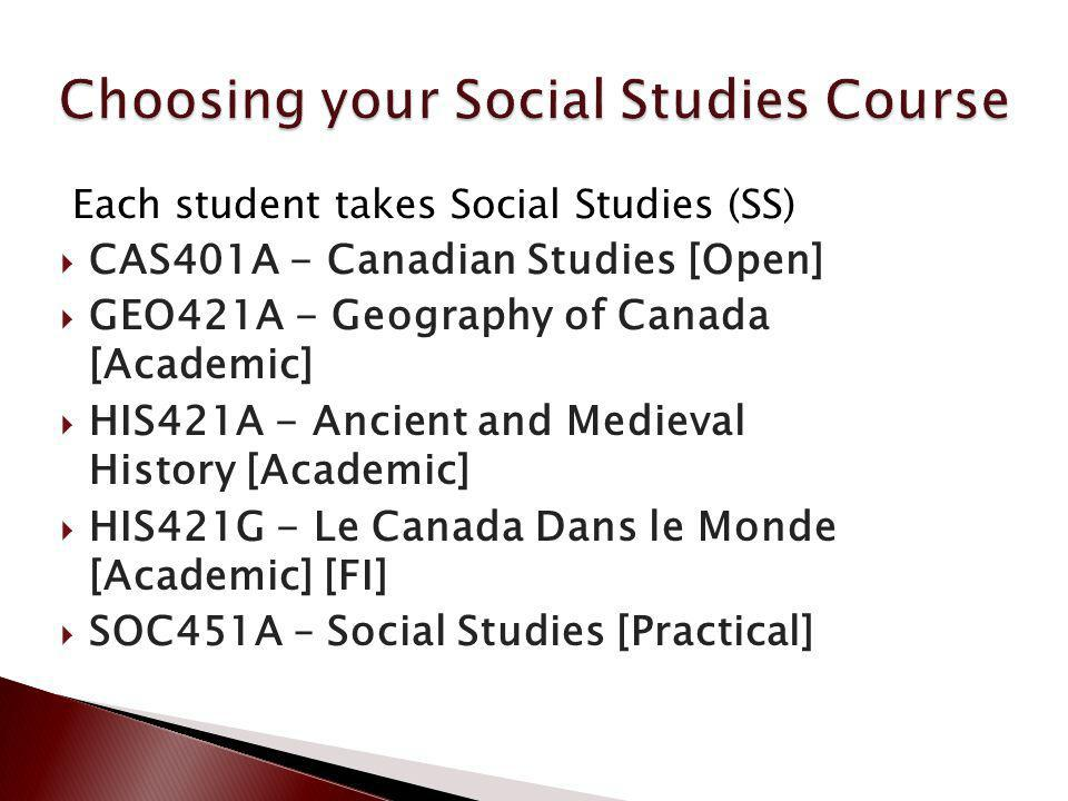 Each student takes Social Studies (SS) CAS401A - Canadian Studies [Open] GEO421A - Geography of Canada [Academic] HIS421A - Ancient and Medieval Histo