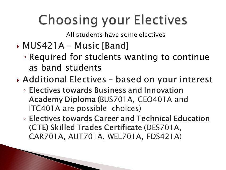 All students have some electives MUS421A - Music [Band] Required for students wanting to continue as band students Additional Electives – based on your interest Electives towards Business and Innovation Academy Diploma (BUS701A, CEO401A and ITC401A are possible choices) Electives towards Career and Technical Education (CTE) Skilled Trades Certificate (DES701A, CAR701A, AUT701A, WEL701A, FDS421A)
