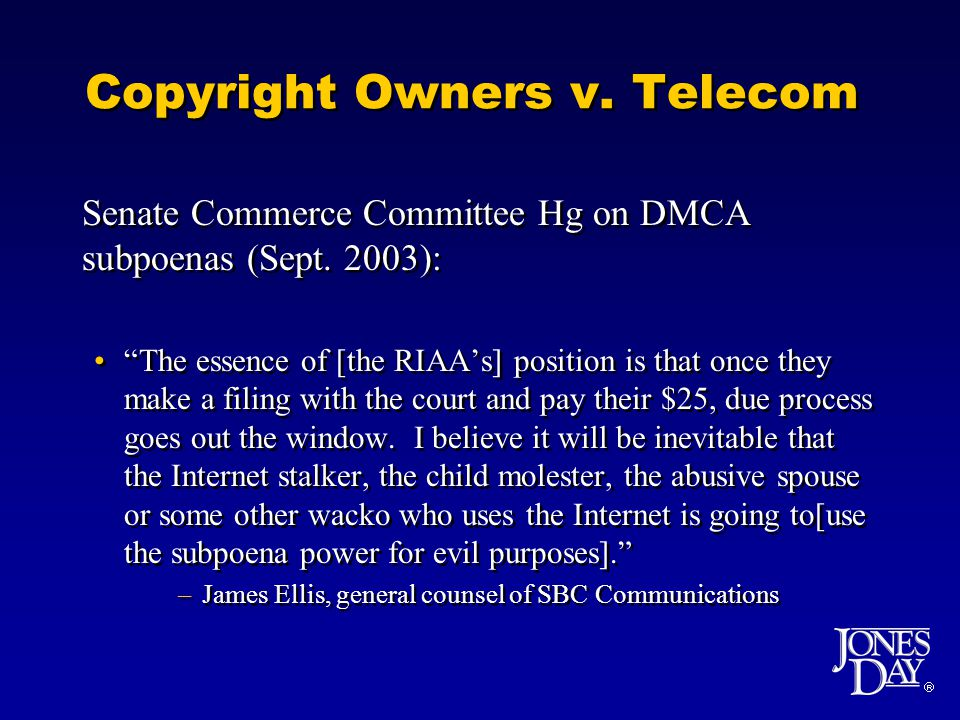 Copyright Owners v. Telecom Senate Commerce Committee Hg on DMCA subpoenas (Sept.
