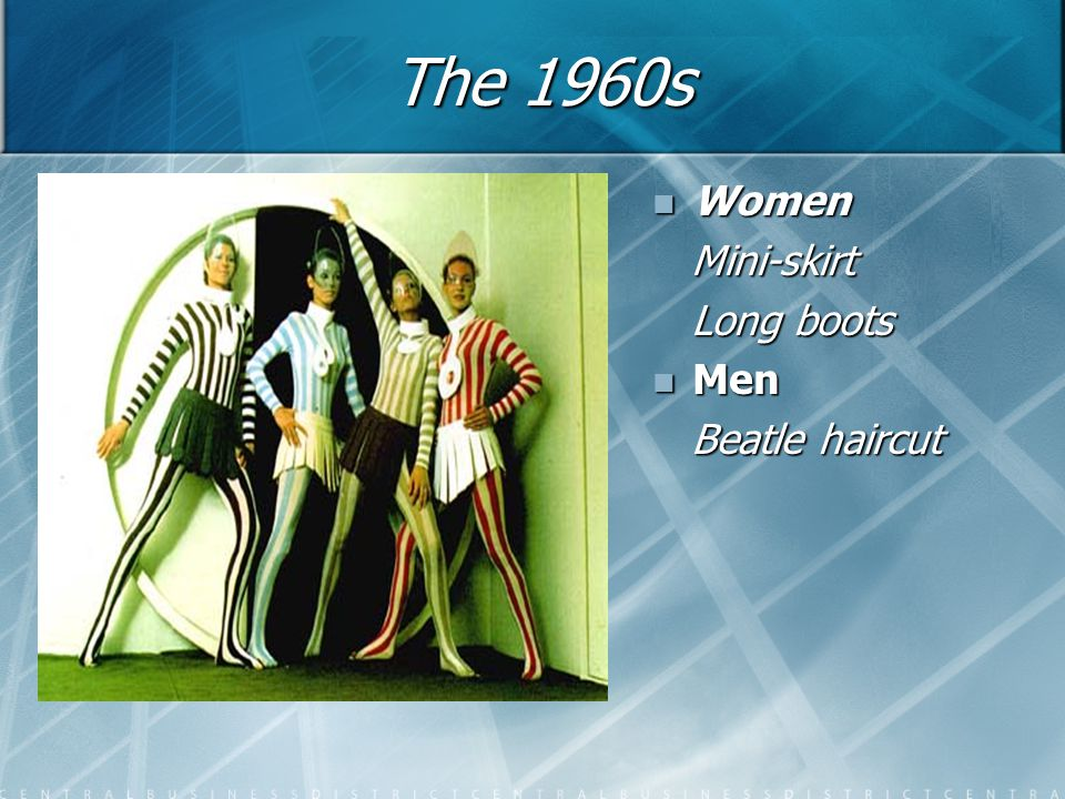 The 1960s Women Mini-skirt Long boots Men Beatle haircut