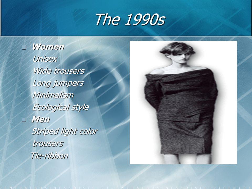 The 1990s Women Women Unisex Unisex Wide trousers Wide trousers Long jumpers Long jumpers Minimalism Minimalism Ecological style Ecological style Men Men Striped light color Striped light color trousers trousers Tie-ribbon Tie-ribbon
