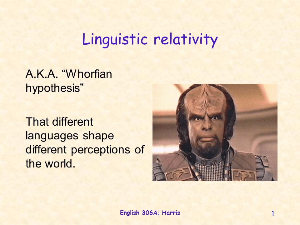 English 306A; Harris 1 Linguistic relativity A.K.A.