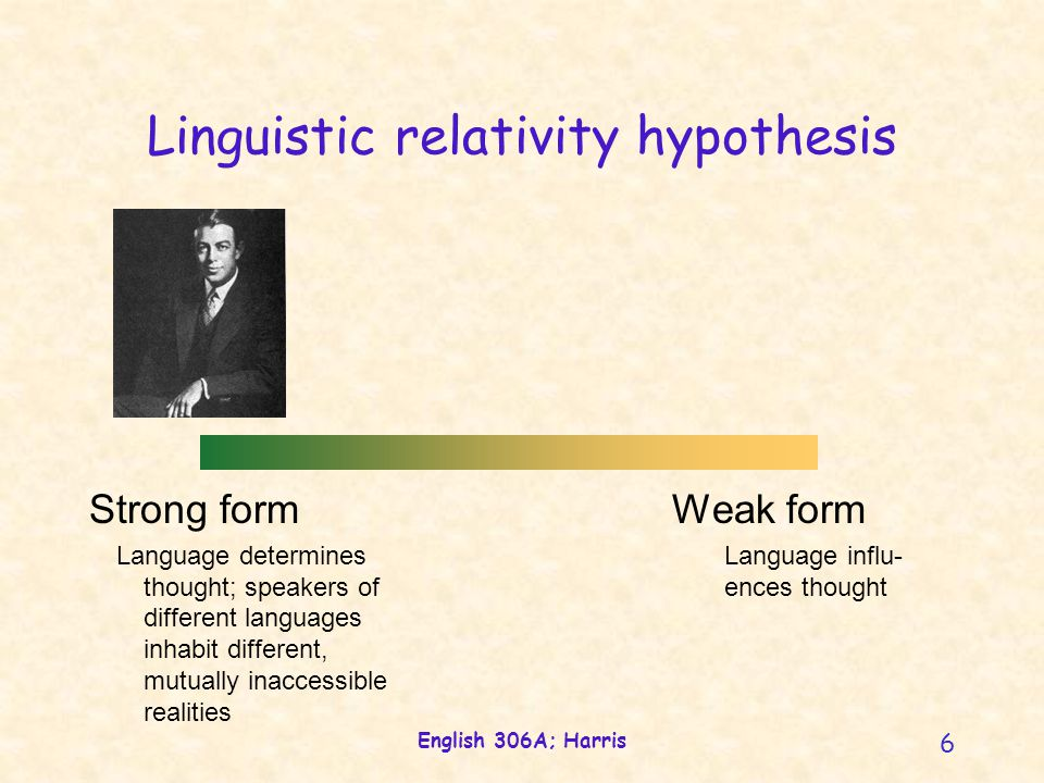 English 306A; Harris 6 Linguistic relativity hypothesis Strong form Language determines thought; speakers of different languages inhabit different, mutually inaccessible realities Weak form Language influ- ences thought