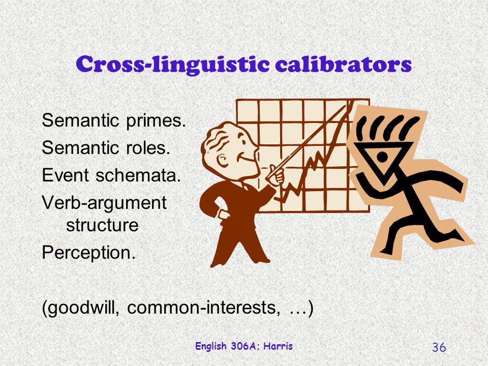 English 306A; Harris 36 Cross-linguistic calibrators Semantic primes.