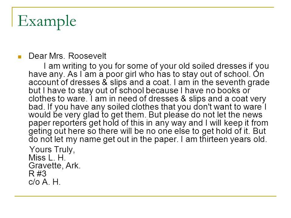Example Dear Mrs.