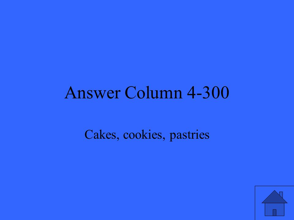 Answer Column 4-300 Cakes, cookies, pastries
