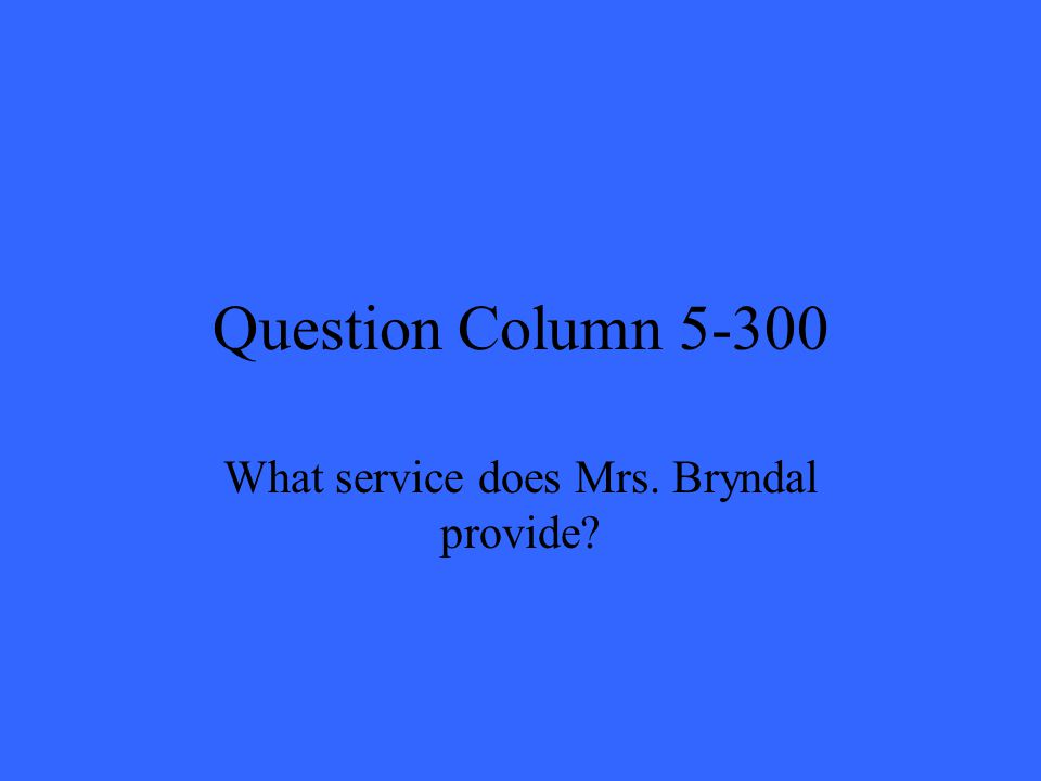 Question Column 5-300 What service does Mrs. Bryndal provide?