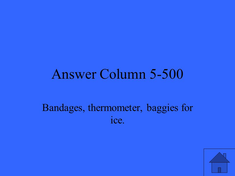 Answer Column 5-500 Bandages, thermometer, baggies for ice.