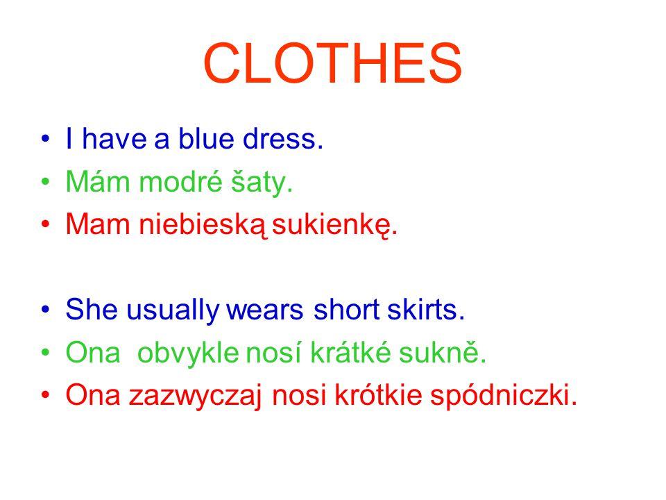 CLOTHES I have a blue dress. Mám modré šaty. Mam niebieską sukienkę.