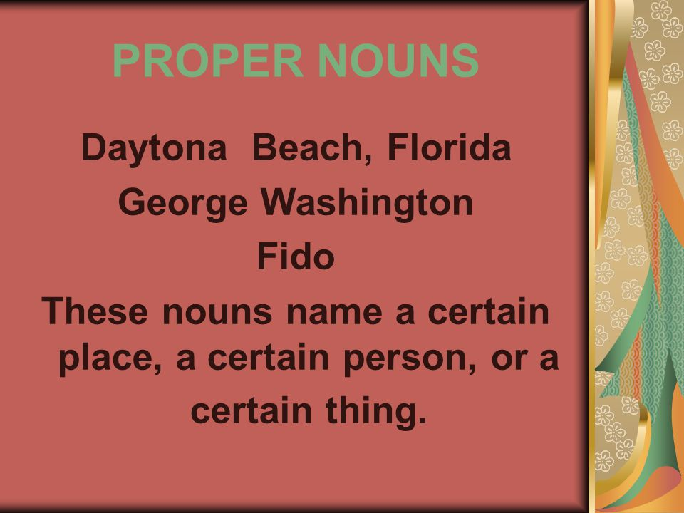 PROPER NOUNS Daytona Beach, Florida George Washington Fido These nouns name a certain place, a certain person, or a certain thing.