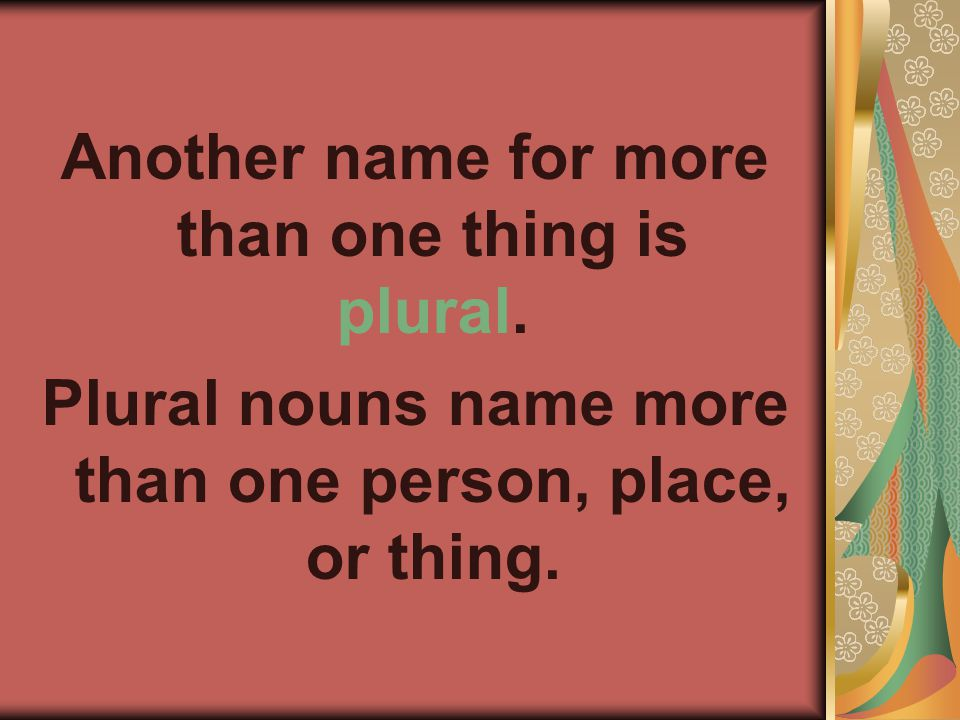 Another name for more than one thing is plural. Plural nouns name more than one person, place, or thing.