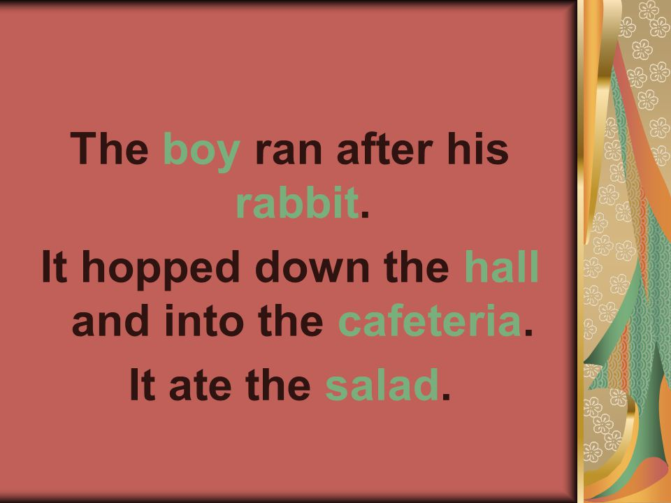 The boy ran after his rabbit. It hopped down the hall and into the cafeteria. It ate the salad.
