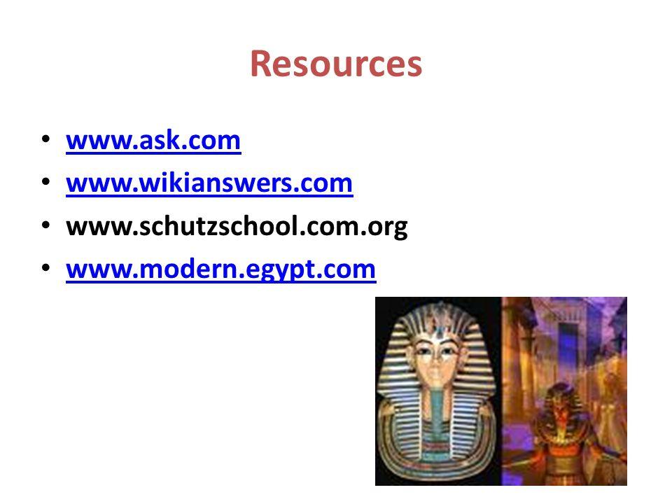 www.ask.com www.wikianswers.com www.schutzschool.com.org www.modern.egypt.com Resources