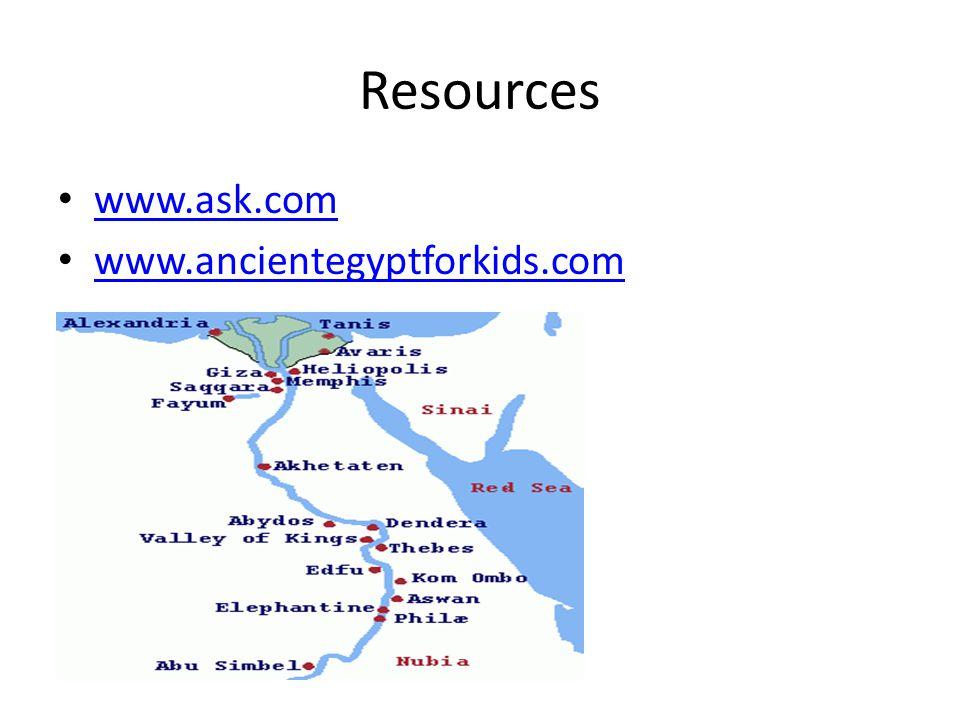 Resources www.ask.com www.ancientegyptforkids.com