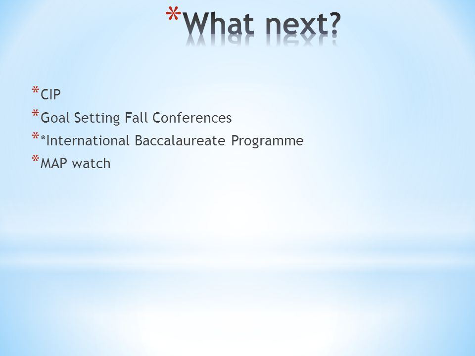 * CIP * Goal Setting Fall Conferences * *International Baccalaureate Programme * MAP watch